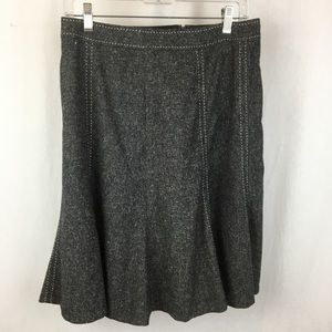 WHBM Gray Top Stitch Knee Length Skirt 2